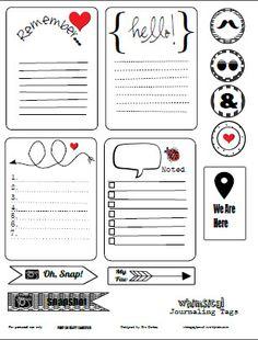 FREE Printable Download - Whimsical Journaling Cards. / Imprimibles de tarjetitas monas e iconos, de remember, hello, etc.