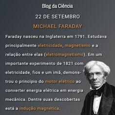 Michael Faraday nasceu na Inglaterra em 1791. Estudava principalmente eletricidade, magnetismo e a relação entre elas (eletromagnetismo).