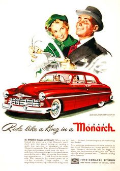 Ford Monarch. 1949.  Weird look on the gentleman's face on this one.  Car looks like it could rival the Titanic in size.