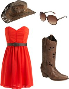 Lovin the red dress! #countryfashion #countryoutfit #country #countrygirl #reddress #cowboyboots #cowgirlboots #cowboyhat For more Cute n' Country visit: www.cutencountry.com and www.facebook.com/cuteandcountry