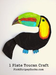 Pink Stripey Socks: Paper Plate Toucan Craft Paper Plate Toucan Craft: (You just need 1 paper plate! Rainforest Classroom, Rainforest Crafts, Rainforest Project, Jungle Crafts, Rainforest Theme, Rainforest Animals, Bird Crafts, Animal Crafts, Rainforest Activities