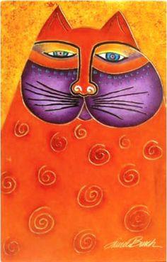 Image Detail for - Laurel Burch Decor - Crimson Cat RLB-09023