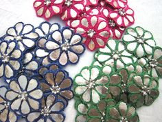 A set of 50 pieces handmade flower applique/patch Aari Embroidery, Embroidery Patches, Cross Stitch Borders, Cut Work, Flower Applique, Handmade Flowers, Payet, Tunics, Blouses