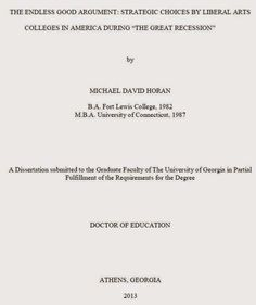 Strategic Choices by Liberal Arts Colleges, 2013 dissertation University of Georgia