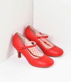 1ba203c83fe Bettie Page Cherry Red Leatherette Bettie Retro Mary Jane Heels – Unique  Vintage