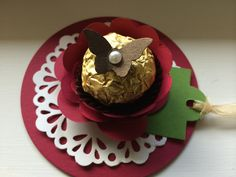 Stampin Up! Ferrero Rocher chocolate. Doily. Spiral flower. Butterfly. Nicole Notch.