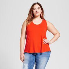 Women's Plus Size Drapey Tank - Ava & Viv Orange Zing 2X