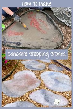 A tutorial on how to make concrete stepping stones look like like natural fieldstones. The perfect solution for a garden or yard path. Make them any color, sculpt them into shape. A great idea for sprucing up your outdoor space! Concrete Stepping Stones, Mosaic Stepping Stones, Concrete Steps, Concrete Pavers, Concrete Garden, Decorative Stepping Stones, Patio Slabs, Concrete Crafts, Concrete Projects