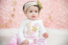 A personal favorite from my Etsy shop https://www.etsy.com/listing/505362871/pink-and-gold-first-birthday-star-outfit