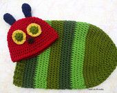Very Hungry Caterpillar Crochet Hat and Cocoon Set for newborns -great photo prop or costume - Caterpillar Costume - Crochet Caterpillar set - pinned by pin4etsy.com