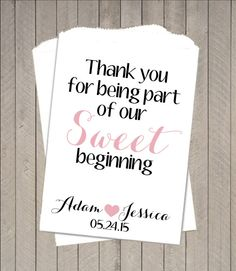 Sweet Beginning Buffet Candy Bags ~ Candy Buffet Takeaway Bags, Wedding Buffet…
