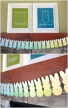 peeps banner. This is a great idea for all those paint swatches at Home Improvement stores!