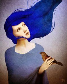 Schloe l woman with blue hair l pop surrealism