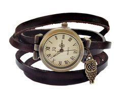 """Wrap Watch, Bracelet Watch, Wrist Watch, Vintage Watch for women """"Owl"""" Leather Bracelet: dark brown"""
