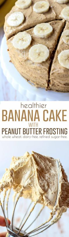 Whole Wheat Banana Cake made dairy-free, refined sugar-free, and so moist you won't believe it. Topped with a 3-ingredient healthy peanut butter frosting!