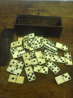 20th Century Antique Furniture Set Of 20 Antique Dominos Porcelain Various Styles
