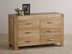 OK Furniture Land Alto Natural Solid Oak 6 Drawer Wide Chest Oak Furniture Land, Solid Wood Furniture, Bedroom Furniture, Large Chest Of Drawers, 6 Drawer Chest, High Point Furniture, Oak Bedroom, Bedroom Ideas, Wide Dresser