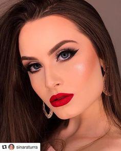 Maquiagem de festa com batom vermelho 2019 Bridal Makeup Red Lips, Bold Lip Makeup, Red Lips Makeup Look, Colorful Eye Makeup, Wedding Hair And Makeup, Glam Makeup, Party Makeup, Makeup Tips, Makeup Looks