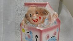 EO. Brody Art Pottery, Nursery Planter Pink Clown, Jack In The Box Head Vase, A988 Vintage 1950's, Whimsical Clown Bright Colors, Baby Girl