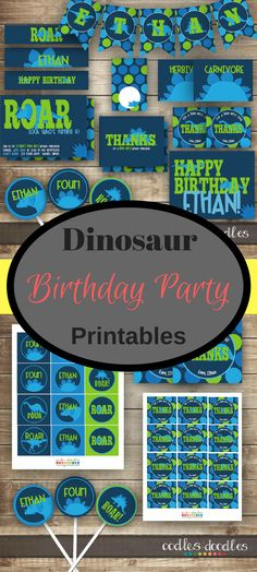 Dinosaur Birthday Party, Dinosaur Party Package, Dinosaur Party Printables, Dinosaur Decorations, Dino Party, Navy, Turquoise, Lime Green #afflink