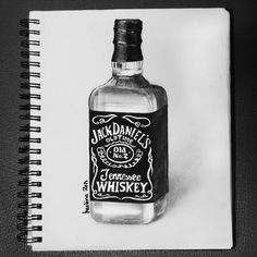 Pencil Art Drawings, Tattoo Drawings, Tattoos, Whisky, Jack Daniels Bottle, Bottle Drawing, Coke, Bottle Tattoo, Inspirational Quotes Wallpapers