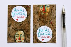 I created these illustrated 'business' cards predominantly for inclusion with the Etsy orders I send (art prints, altered journals, etc). Have decided to keep the information simple because my website (which is not actually finished yet!) has my contact details & links to my work.