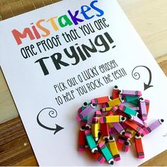 This is one of my favorite FREE motivational quotes for testing! Use this FREE testing treat for students on testing day to keep students motivated! Just print out the free testing quote and provide students with a testing gift of a pencil or eraser! Classroom Quotes, Classroom Fun, Future Classroom, Classroom Gifts For Students, Presents For Students, Disney Classroom, Biology Classroom, Classroom Posters, Teacher Quotes