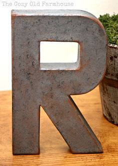 """The Cozy Old """"Farmhouse"""": DIY Faux Metal Industrial Letters"""