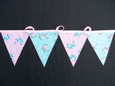2 metersspring time party bunting aqua rose and pink rose birthday party bunting