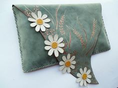Turquoise clutch with daisies Painted clutch Boho by spiculdegrau