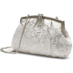 Lenore by La Regale Floral Jacquard Clutch, Women's, Silver ($62) ❤ liked on Polyvore featuring bags, handbags, clutches, silver, silver metallic handbag, floral clutches, metallic clutches, silver metallic purse and white clutches