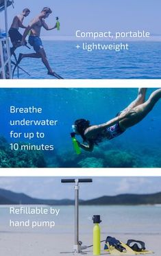 David Hallamore is raising funds for SCORKL - Breathe underwater with TOTAL freedom on Kickstarter! Scorkl is lightweight, portable, refillable via hand pump and gives you up to underwater Breathing Underwater, Scuba Diving Equipment, Snorkeling, Weight Loss Motivation, Fitness Tips, Fitness Workouts, Videos, Breathe, Have Fun