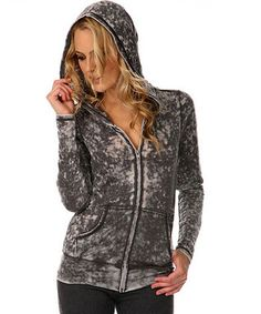 Black Retro Burnout Zip-Up Hoodie