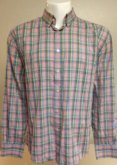 William Long Sleeve Button Front Multi Colored X-Large Shirt XL #William #ButtonFront