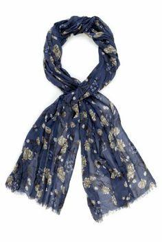 Indigo Collection Lightweight Summer Floral Print Scarf-Marks & Spencer