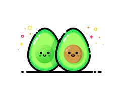 Avocado designed by MBE. Connect with them on Dribbble; the global community for designers and creative professionals. Icon Design, Graphisches Design, Line Design, Line Illustration, Illustrations, Digital Illustration, Cute Avocado, Cute Characters, Cute Wallpapers