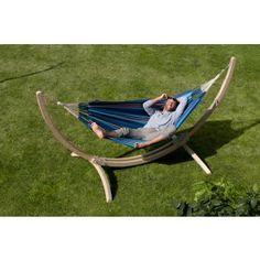 La Siesta RelaxSet - Einzel-Hängematte CURRAMBERA blueberry mit Holzgestell CANOA