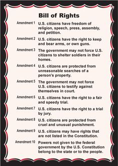 This is a shorter and much simpler version of the bill of rights. The bill gives the good people of America their individual freedoms. The Bill of rights is apart of the US constitution. Government Lessons, Teaching Government, Big Government, Bill Of Rights Amendments, Freedom Of Religion, I Love America, Obama Administration, Home Schooling, History Facts