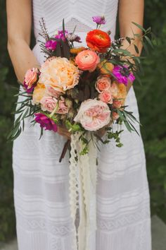 bohemian bouquet of garden roses, ranunculus, and anenomes // Bird Dog Wedding