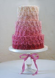 Pink Ombré Rosette Buttercream Wedding Cake.  #wedding #cake