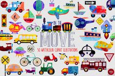 Watercolor Transportation Clipart | Digital Illustrations | On the Move | Car Plane Boat Truck Bikes Bus Traffic Signs Clip Art Graphics by GraphicBrat on Etsy