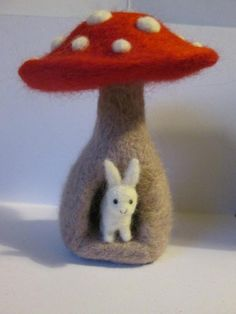 Hey, I found this really awesome Etsy listing at https://www.etsy.com/listing/187028597/miniature-bunny-rabbit-in-mushroom