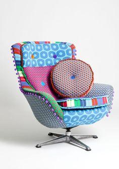 Stunning machine knitted chair by Deryn Relph