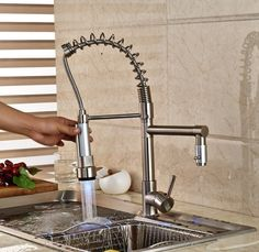 69.76$  Buy now - http://ali2ty.worldwells.pw/go.php?t=32443455564 - Nickel Brushed LED Swivel Spout Spring Kitchen Faucet Dual Sprayer Deck Mounted Single Handle Hole Hot and Cold Water 69.76$