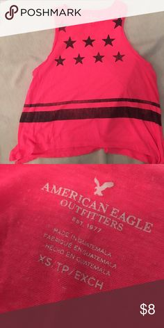 American Eagle T shirt Pink with black stare sleeveless soft and fun American Eagle Outfitters Tops Tees - Short Sleeve