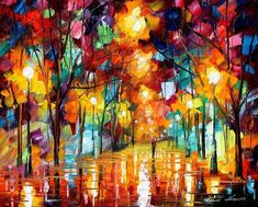 """By Leonid Afremov   """"Each of my paintings brings different moods, colors and emotions. I love to express the beauty, harmony and spirit of this world in my paintings. My heart is completely open to art. Thus, I enjoy creating inspired and beautiful paintings from the bottom of my soul."""""""