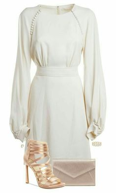 White dress and beige shoes