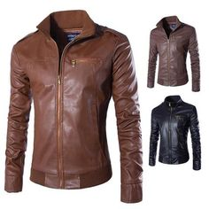 ebeeece085531 Newest Motorcycle Leather Jackets Men Solid Business Casual Coats Autumn  Winter Leathereosewe