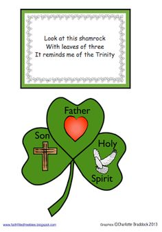 Faith Filled Freebies - shamrock Trinity craft and poem from Charlotte's Clips St Patricks Day Crafts For Kids, St Patrick's Day Crafts, Preschool Crafts, Catholic Crafts, Church Crafts, Sunday School Lessons, Sunday School Crafts, Saint Patrick, Shamrock Template