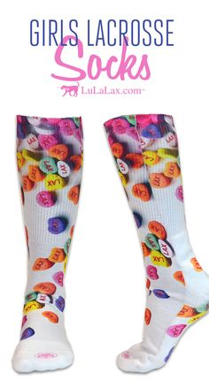 Our Lax Candy Heart socks make a fun Valentine's Day gift for lacrosse girls and teams! They're great for playing in lacrosse games and tournaments or just hanging around! LuLaLax.com